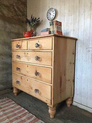 Large Victorian Stripped Pine Farmhouse Chest Of Drawers Free Local Delivery