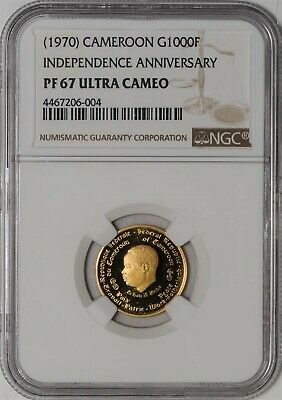1970 Cameroon Gold 1000 Francs PF67 Ultra Cameo NGC Independence Ann.  936859-3