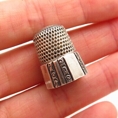 Simons Brothers Antique Victorian Sterling Silver Repousse Floral Sewing Thimble
