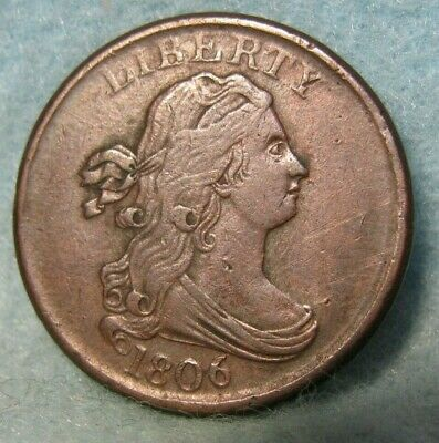1806 Draped Bust Half Cent XF * United States Coin