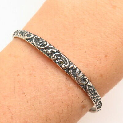 Simons Brothers Antique Victorian Sterling Silver Repousse Scroll Cuff Bracelet