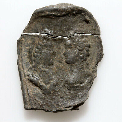 Very Interest Ancient Roman Silver Fragment With 2 Emperors Busts Circa 100-300