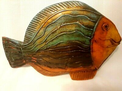 """Hand Carved and Painted  Wood Fish  Folk Art Colorful  12 3/4"""" long Modern Decor"""