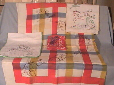 vintage linen galloping horse tablecloth, table runners swagger cowboys no res