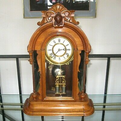Antique Ansonia 8 Day Mantle Clock Mirrored Oak Case Bell Chime Pat. 1876