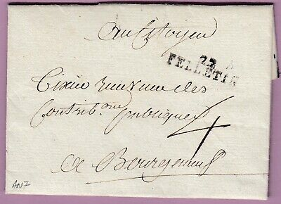 Marque 22 Felletin Creuse An7 1799 Bourganeuf Lettre Cover