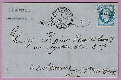 N°22 Gc 4549 Aigues Vives Gard Cad Type 22 Marseille Lettre Cover