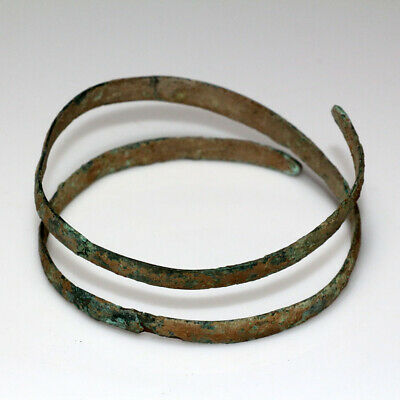 Very Rare-Bronze Age Ancient Greek Bronze Spiral Bracelet Circa 2500-1500 Bc