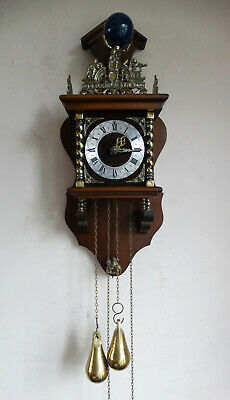 Dutch Wuba Zaandam Zaanse Wall Clock Weight Driven Bell Striking One Day