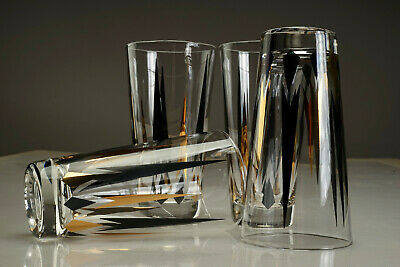 4 Mid Century Anchor Hocking Drink Glasses Atomic Arrow & Diamond Barware Patter