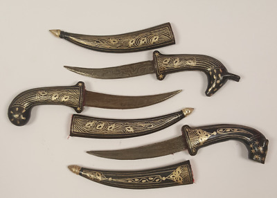 Antique 3pcs Small Daggers Knife Damascus Islamic silver sculptures High Quality