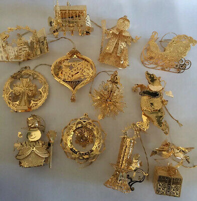 Danbury Mint Gold Christmas Ornament Collection 2010 Set of 13 w/Box 23K EPlate