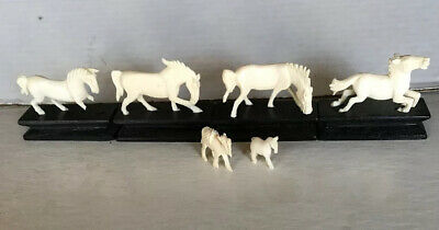Vintage Chinese Hand Carved Hard Stone Miniature Horses On Wooden Bases
