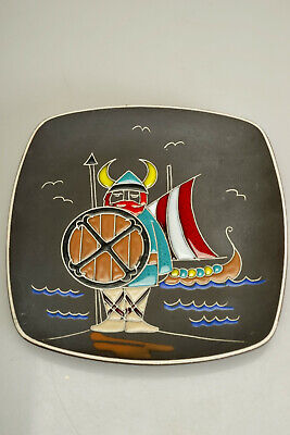"""Mid Century A.W.F Norway Scandinavian Pottery Wall Plaque 1960's Viking 8.75"""""""