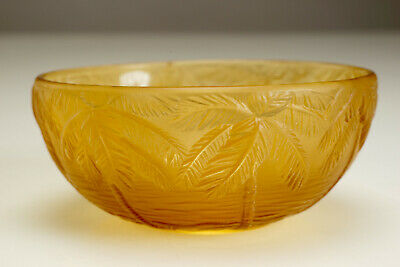 1930s Art Deco Czech Barolac Frosted Amber Glass Palm Trees Bowl Josef Inwald