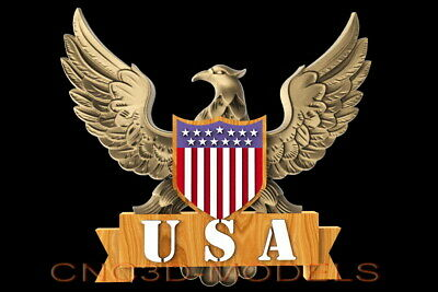 3D STL Model for CNC Router Carving Artcam Aspire USA Flag America Eagle D514