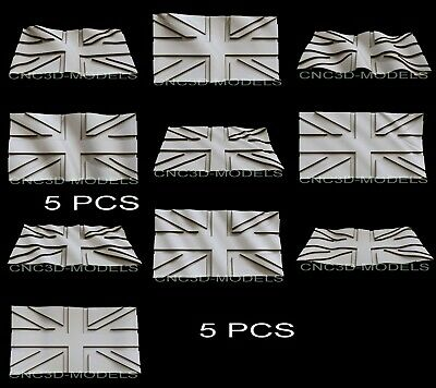 3D Model STL for CNC Router Carving Artcam Aspire Great Britain Flag Pano D274