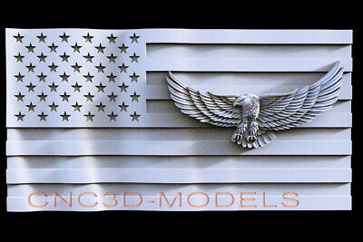 3D STL Model for CNC Router Carving Artcam Aspire USA Flag America Eagle D137