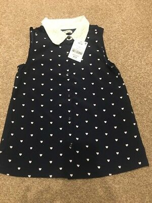 Girls Heart Blouse Top With Collar BNWT 7 Years By Next