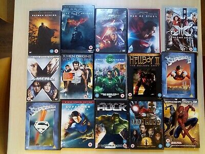 Joblot of x 15 DVDs DC Marvel Batman X-Men Star Wars Superman incredible hulk