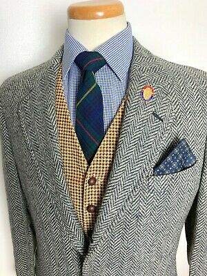 Vtg Jos A Bank WOOL TWEED Sack Coat 38 40 L jacket HERRINGBONE blazer IVY trad
