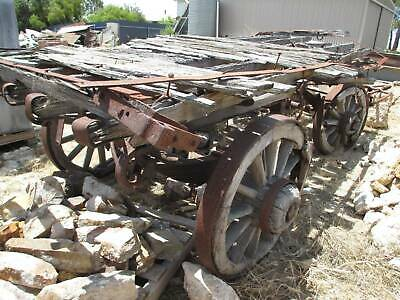 Vintage Antique Bullock Horse Drawn 4 Wheel Dray Cart Wagon