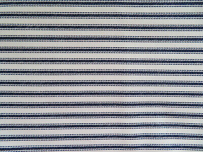 Blue & White Stripes Vtg Cotton Unused Pillow Ticking Fabric 3+ Yards