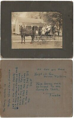1900s Cardboard Photo Of Family In Horse & Buggy At Sumner Illinois