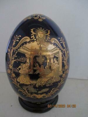 """Chinese Satsuma Style Porcelain Cobalt Blue W/Gold Egg On Wood Stand 9"""" Tall"""