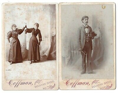 Two Family Photos From Mountain Grove Missouri 1890s Cabinet Cards