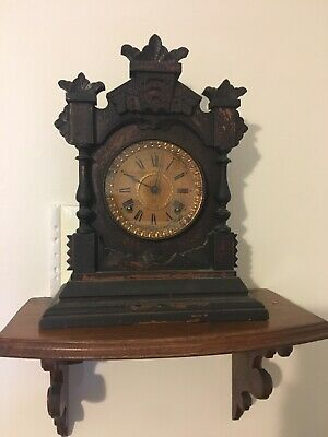 Ansonia Wooden Mantle Clock 1880s Fully Original Condition For Restoration