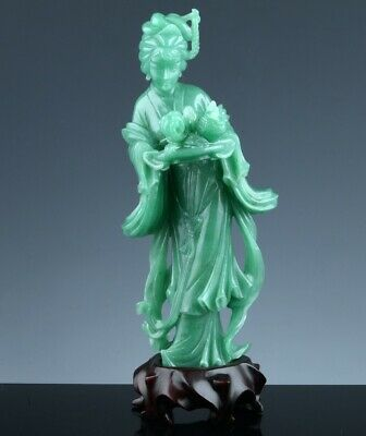 Fine Quality Chinese Green Jade Hardstone Imperial Immortal Attendant Figure