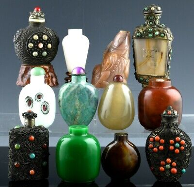 Estate Lot 12 Old Chinese Agate Stone Glass Filigree Silver Coral Snuff Bottles