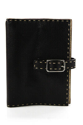 Fendi Womens Pebbled Leather Agenda Book Dark Brown