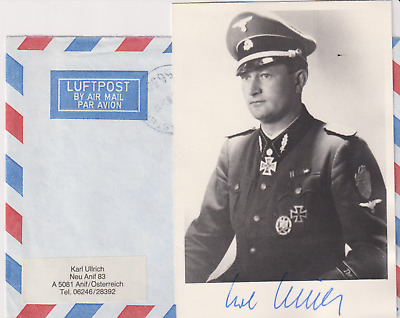 Signed photo and letter SS-Oberfuhrer Karl Ullrich - Knights Cross/Oakleaves rec