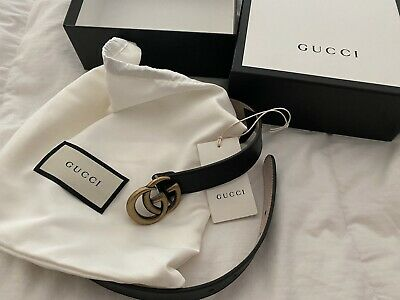 GUCCI Children's Large Leather Gold Double G Buckle Belt NEW