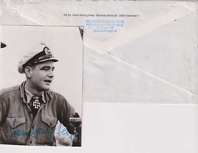 "Signed photo & note Oblt. zur See  Hans-Georg Hess -Kdt. ""U995""-Knights Cross"