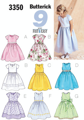 Butterick pattern 5845 Girls holiday party dresses size 2-8 three styles uncut