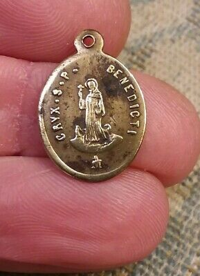 Antique 1900 French Solid Brass St Saint Benedict Medal Small
