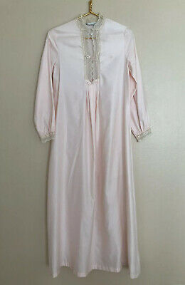 Christian Dior Vintage Pink Long Nightgown Lace Trim Button Closure Long Sleeves