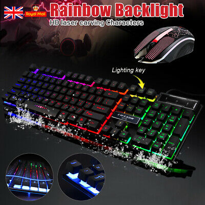 Led Gaming Keyboard + Mouse Usb Wired Rgb Colour Back Light Up Rainbow Pc Laptop
