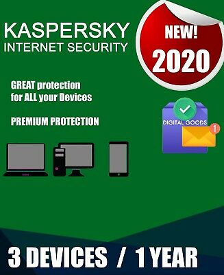 Kaspersky Internet Security 2020 3 Pc Devices 1 Year  Best Antivirus License