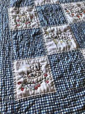 Vintage Hand Embroidered Hand Quilted Baby Quilt featuring Puppies