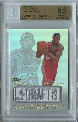 Lebron James 2003 04 Topps Jersey Edition Rookie Manufactured Logo Patch BGS 9.5