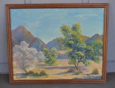 Vintage Oil Painting - Arizona Desert Mountains Landscape in Spring - E. Maxson