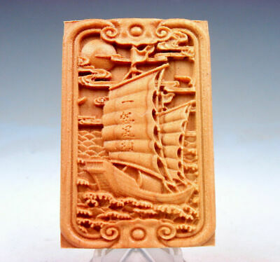 Wooden Detailed Carved Pendant Sculpture Sail Boat & Blessing Characters #081319