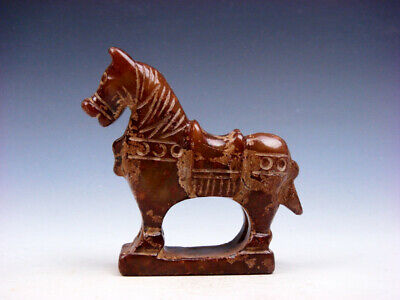 Old Nephrite Jade Hand Carved Sculpture Standing War Horse #02072011