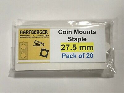 HARTBERGER BRAND 20 Staple Type 2 x 2 coin holders 27.5mm