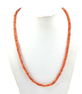 Handmade Carnelian Gemstone 4-5MM Rondelle Faceted Beads Beaded Jewelry Necklace