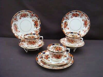 Three Art Nouveau Salisbury China Trios Anzae Pattern Cups Saucers Plates # 1